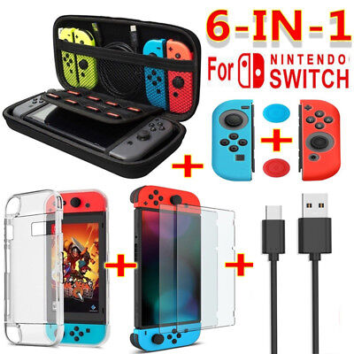 For Nintendo Switch Travel Carrying Bag Screen Protector EVA Case Charging Cable