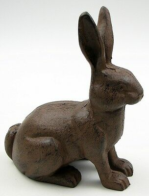 Large Cast Iron -Rabbit Figure Rustic Brown Indoor and Patio Decor Easter