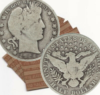 Lot of 20 Collectible Silver Barber Half-Dollars $10 Face Value (BHD)
