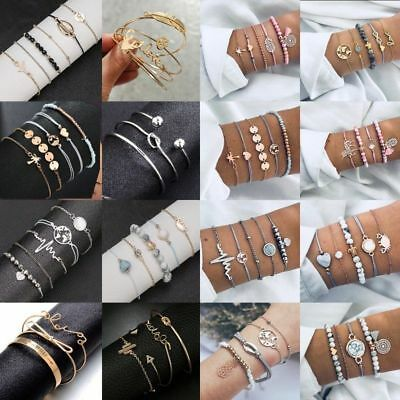 Fashion Jewelry Women's Gold Bracelets Chain Cuff Bangle Lady Bracelet Set Gift