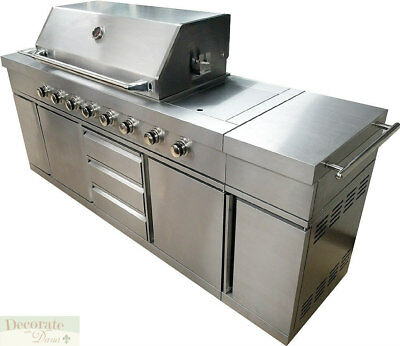 7' BBQ GAS GRILL BARBECUE 8 Burner Zones Rotisserie Sink Stainless Blue LEDs New