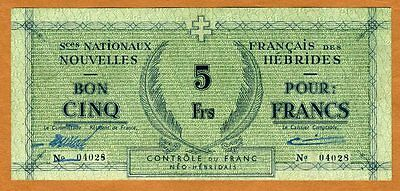 New Hebrides, 5 Francs, ND (1943), WWII, P-1, VF > Rare