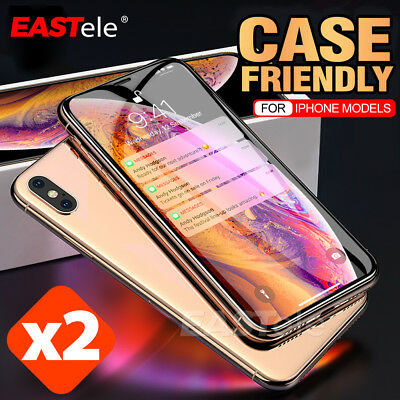 2x EASTele iPhone XS Max XR 8 7 6s Plus Tempered Glass Screen Protector Apple 5s