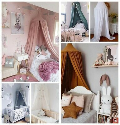 UK Baby Canopy Bed Cover Mosquito Net Cotton Dome Tent Princess Kid's Room Decor