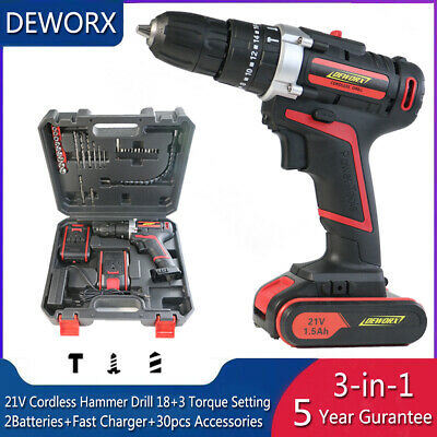 21V Lithium Cordless Combi Hammer Drill Impact Driver Screwdriver 2 Batteries UK