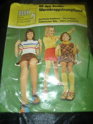 RAR 70er J. Vintage Kinder Warmkrepp Strumpfhose Gr. 122-128 wollweiß Tights OVP