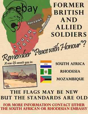British Soldiers Wanted Rhodesia South Africa Mozambique 1970's New A4 Print