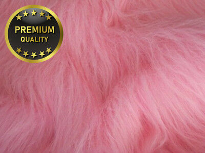 LONG Pile Fun Faux Fur Fabric Material - BLOSSOM PINK