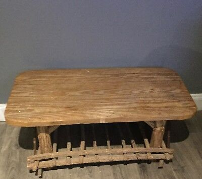 Wood Log Twig Rustic Vintage Hand Made Prison Made Bench