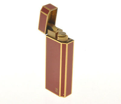 Cartier vintage 5 sized canted corner red lacquer lighter just overhauled