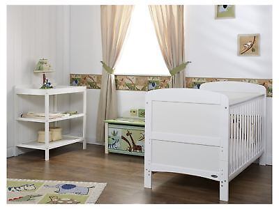 Obaby GRACE 2 PIECE NURSERY ROOM SET Cot Bed Changer White BN