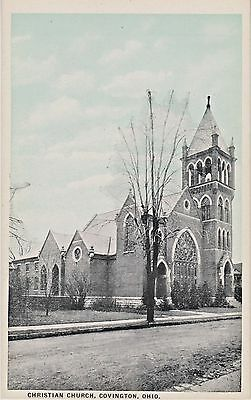"Old Christian Church in Covington, Miami County, Ohio - Rare ""Sky-Tint"" Postcard"