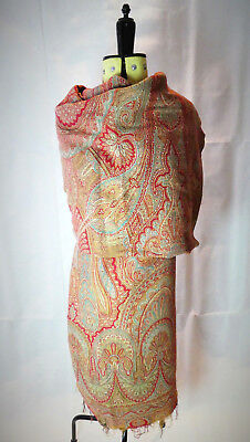 c1860 LARGE ANTIQUE 19thC VICTORIAN JACQUARD WOVEN WOOL KASHMIR PAISLEY SHAWL