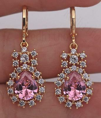 "18K Gold Filled - 1.4"" Royal Earrings Big Gem Pink Quartz Topaz Dangle Studs"