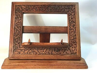 Vintage Carved Wooden Book, Recipe, Bible, iPad Stand