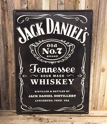 "Jack Daniels Tennessee Whiskey Old No 7 Large 26"" Metal Aluminum Sign Bar New"