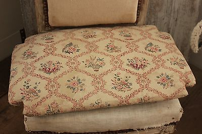 Antique French chair cushion pad c1820 printed fabric horsehair stuffed