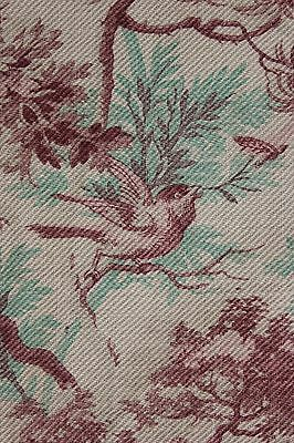 CURTAIN Antique 1880 French bird printed cotton twill weave upholstery CUTTER