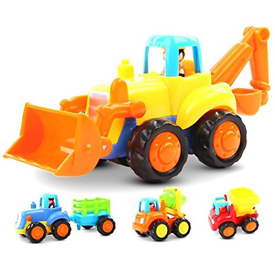 Friction Powered Cars Push and Go Car Construction Vehicles Toys Set of 4 Mixer