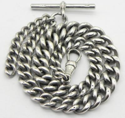 Antique Solid Silver Graduated Albert Watch Chain, 56.4gr, Birm 1911, By HP.