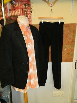 Vintage 1970's Full Black Corduroy Suit Jacket and Trousers
