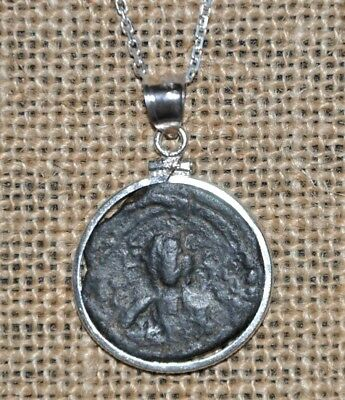 Authentic Ancient Roman Empire Byzantine Jesus Christ Coin 925 Silver Necklace