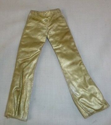 Vtg 1972 Barbie 3354 Glowin Gold Pants Only Gold Lame Flares Hip Huggers