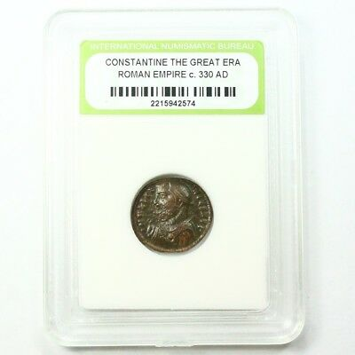 Slabbed Ancient Roman Constantine the Great Coin c330 AD Exact Coin Shown st1637
