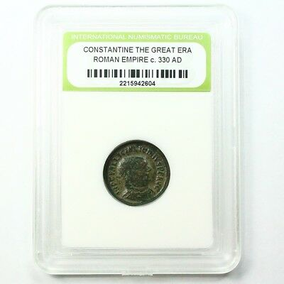 Slabbed Ancient Roman Constantine the Great Coin c330 AD Exact Coin Shown st1626