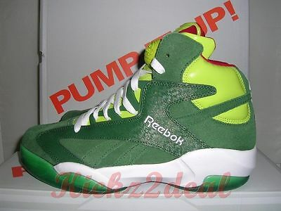 03668e6c1782e8 NEW REEBOK SHAQ ATTAQ Christmas SZ 9 - 10 Sonic Green Red V61428 Shaqnosis  Oneal
