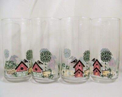 "4 Corelle GARDEN HOME Bridhouse Bird House 5 7/8"" Glass Tumblers-Set of Four"