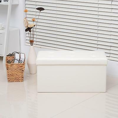 Storage Ottoman Bench Folding White Wooden Frame Covering Faux Leather Stool NEW