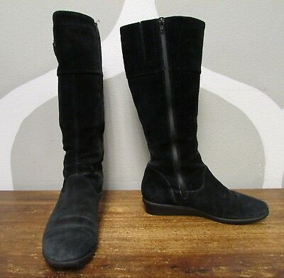 258d12cf3f1c1 COLE HAAN WOMEN'S Black Suede Tall Waterproof Boots Shoes 8.5 Warm ...