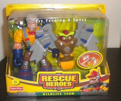 NEW 2003a FISHER PRICE RESCUE HEROES WILDLIFE TEAM PAT PENDING & SPECS