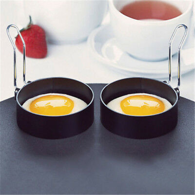 2PCS Nonstick Stainless Steel Handle Round Egg Rings Shaper Pancakes Molds Ring