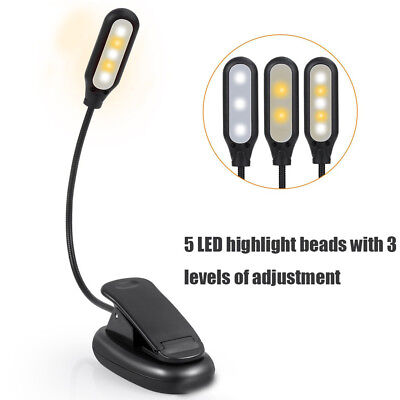 Portable Flexible USB Rechargeable Clamp Clip On LED Reading Light Night Lamp