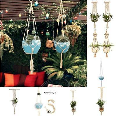 Macrame Pot Holder Plant Hanger Hanging Planter Basket Jute Rope Braided Craft