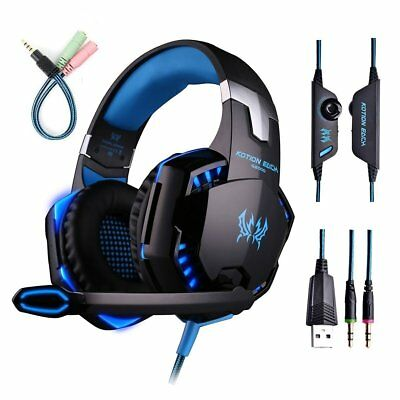 EACH G2000 Gaming Headset USB 3.5mm LED Stereo PC Headphone Microphone Lot IA