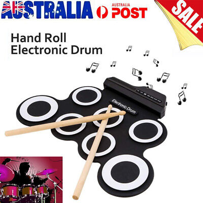 7 Pad Electronic Roll Up Drum Kit Portable Silicone Electric USB Pad drum Set AU