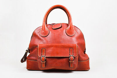 "Chloe Red Distressed Leather Cream Stitching SHW ""Edith Large Bowler"" Bag"