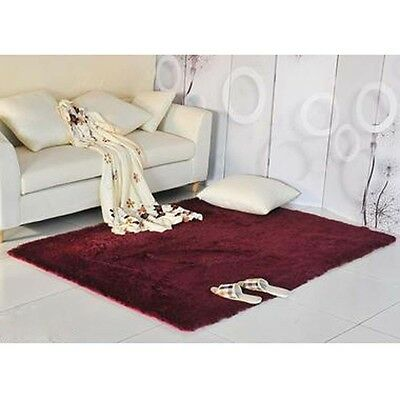 New Fluffy Living Room Carpet Shaggy Soft Area Rug Rectangle Floor Mat Claret AE