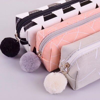 Small Pencil Pen Case Cosmetic Womens Makeup Bag Storage Zip Pouch Purse Gifts