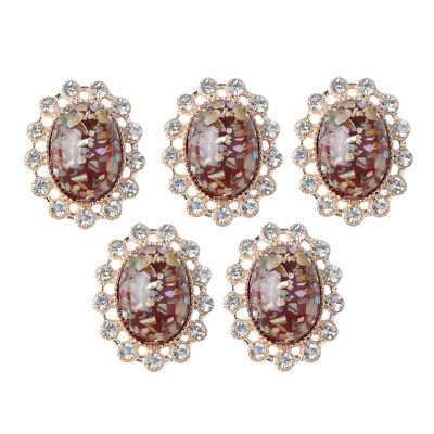 5x Vintage Crystal Oval Flatback Buttons Jewelry Making DIY Embellishment