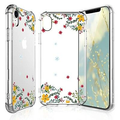 TJS iPhone XR Case with Tempered Glass Screen Protector, Clear Flower Pat... New