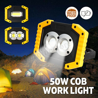 50W Portable COB LED Work Light USB Rechargeable Battery Outdoor Camping Lamp