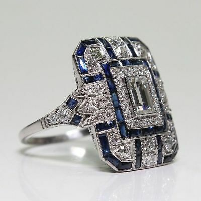 Antique Art Deco Large Jewelry Silver Plated Blue Sapphire & Diamond Ring ~