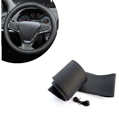 Black DIY PU Leather Car Truck Auto Steering Wheel Cover W/ Needles and Thread