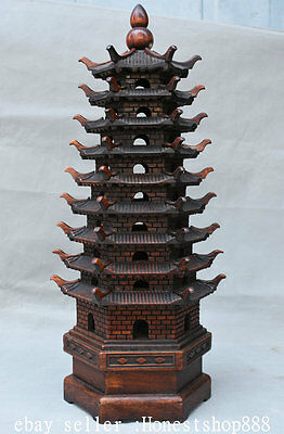 """17.6"""" Old Chinese Redwood Carved 9 Layer Wen Chang Feng Shui Stupa Pagoda Tower"""