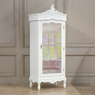 Stunning Shabby Chic French Style White Hardwood Single Mirror Door Armoire