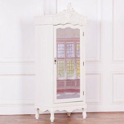 Stunning Shabby Chic French Style Cream Hardwood Single Mirror Door Armoire